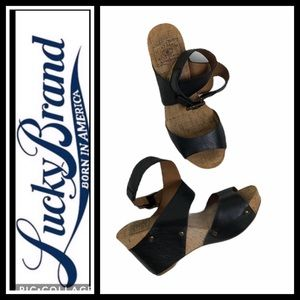 Lucky Brand Black Leather  Wedge Sandals